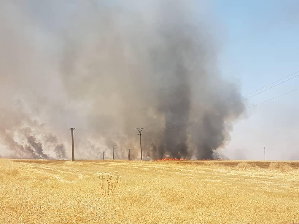 اندلاع حريق في الأراضي الزراعية بريف جل آغا