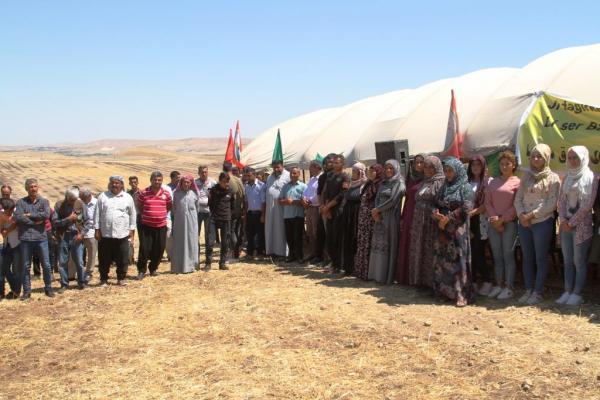 بالقرب من جرابلس المحتلة.. اعتصامٌ ثاني في كوباني رفضاً للتهديدات التركية