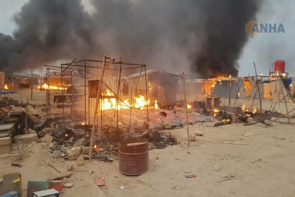 ANHA من داخل مخيم عين عيسى ترصد عملية الحرق