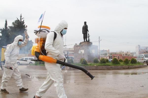 حملة تعقيم واسعة في كوباني ضد الوباء العالمي كورونا
