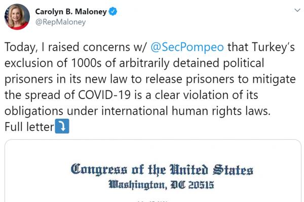 عضوة بالكونغرس الأمريكي: تركيا تنتهك وبشكل واضح قوانين حقوق الإنسان الدولية