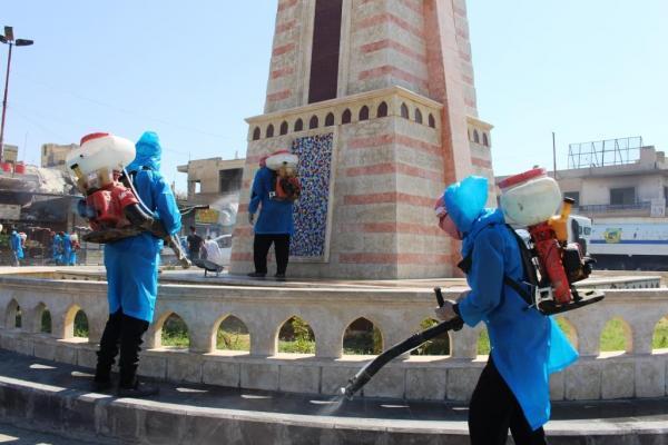 بلدية الشعب في الرقة تطلق حملة لتعقيم شوارع المدينة