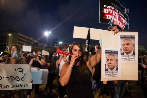 احتجاجات واسعة في إسرائيل تطالب نتنياهو بالرحيل عن الحكومة