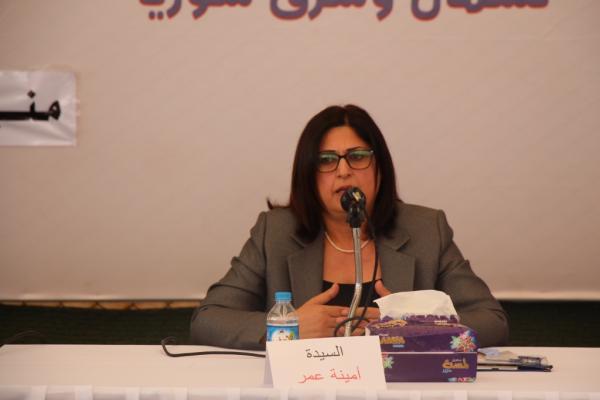 أمينة عمر: اتفاق السوريين يضمن حقوق أبناء البلد وهو سبيل حل الأزمة