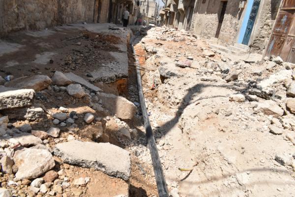 رغم الحصار الخانق.. بلدية الشعب في حلب تنجز مشاريع خدمية