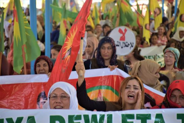 Thousands of Serê Kaniyê people denounce Turkish threats to N, E Syria