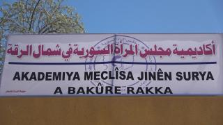 Opening 3rd women session at Syrian Women Academy in al-Raqqa