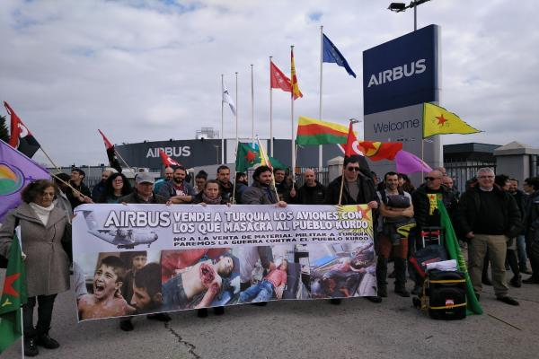 ​​​​​​​Protesters in Spain: Airbus sells warplanes to Turkey that kill Kurds