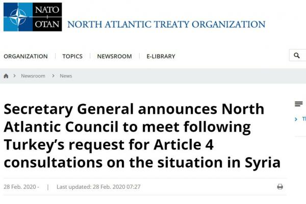 NATO meets at the request of Turkey, but not under Article 5