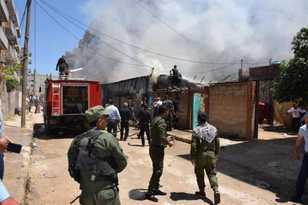 Fire brigade extinguishes a massive fire in Qamishlo