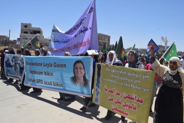 Demonstration in Kobane condemning arrest of struggler Leyla Koven