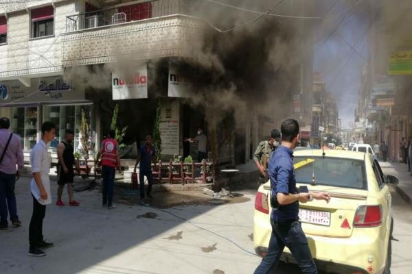 Gas cylinder exploded and a fire broke out inside a shop in Qamishlo