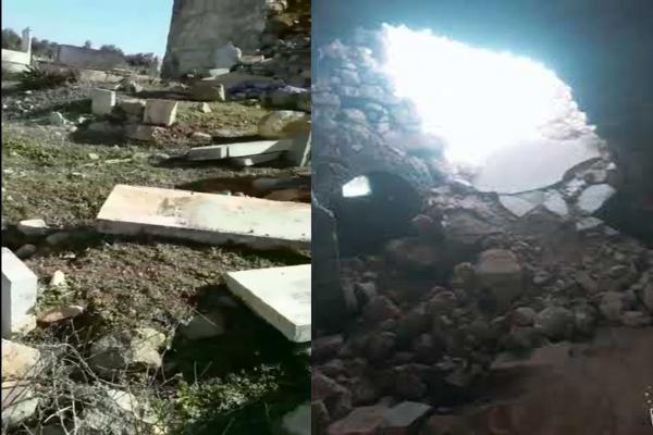 Occupation, its mercenaries destroy Yazidi cemetery in Afrin